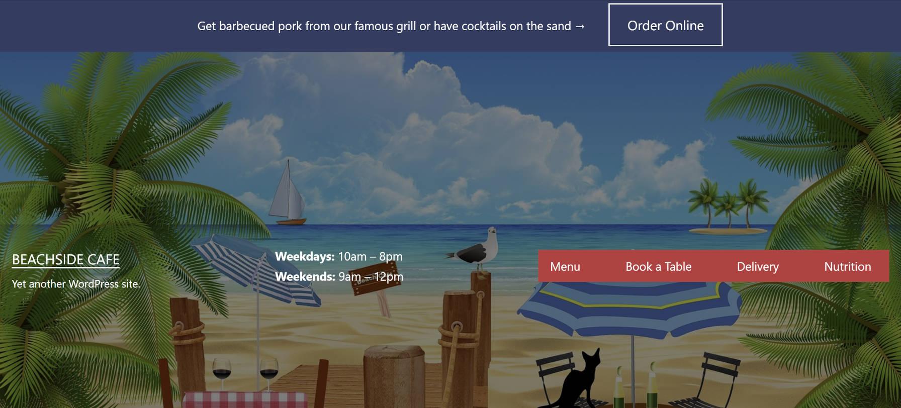 Custom restaurant header design for a beachside cafe.