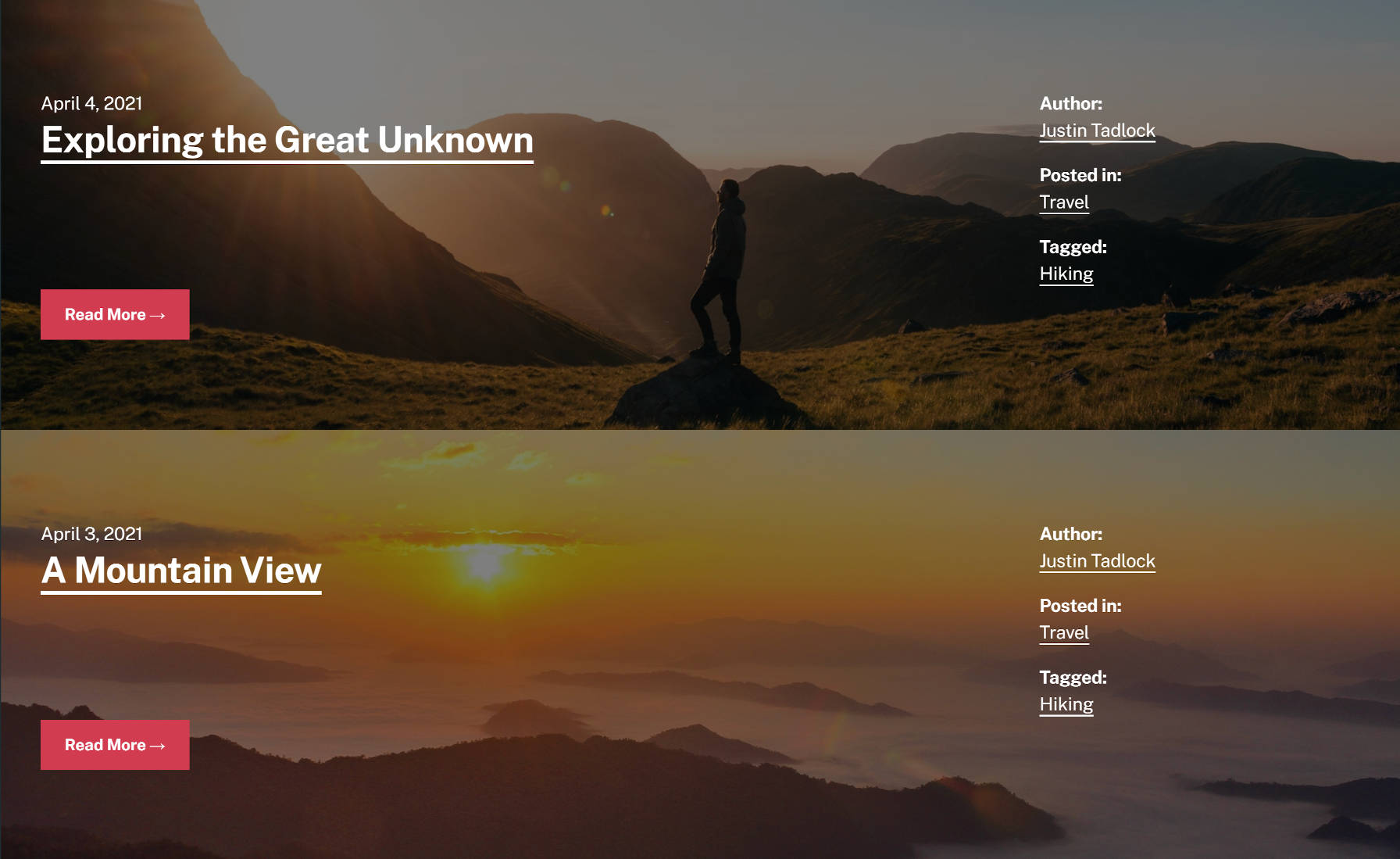 Two blog posts stacked upon each other. Each has a custom background image that spans the page.