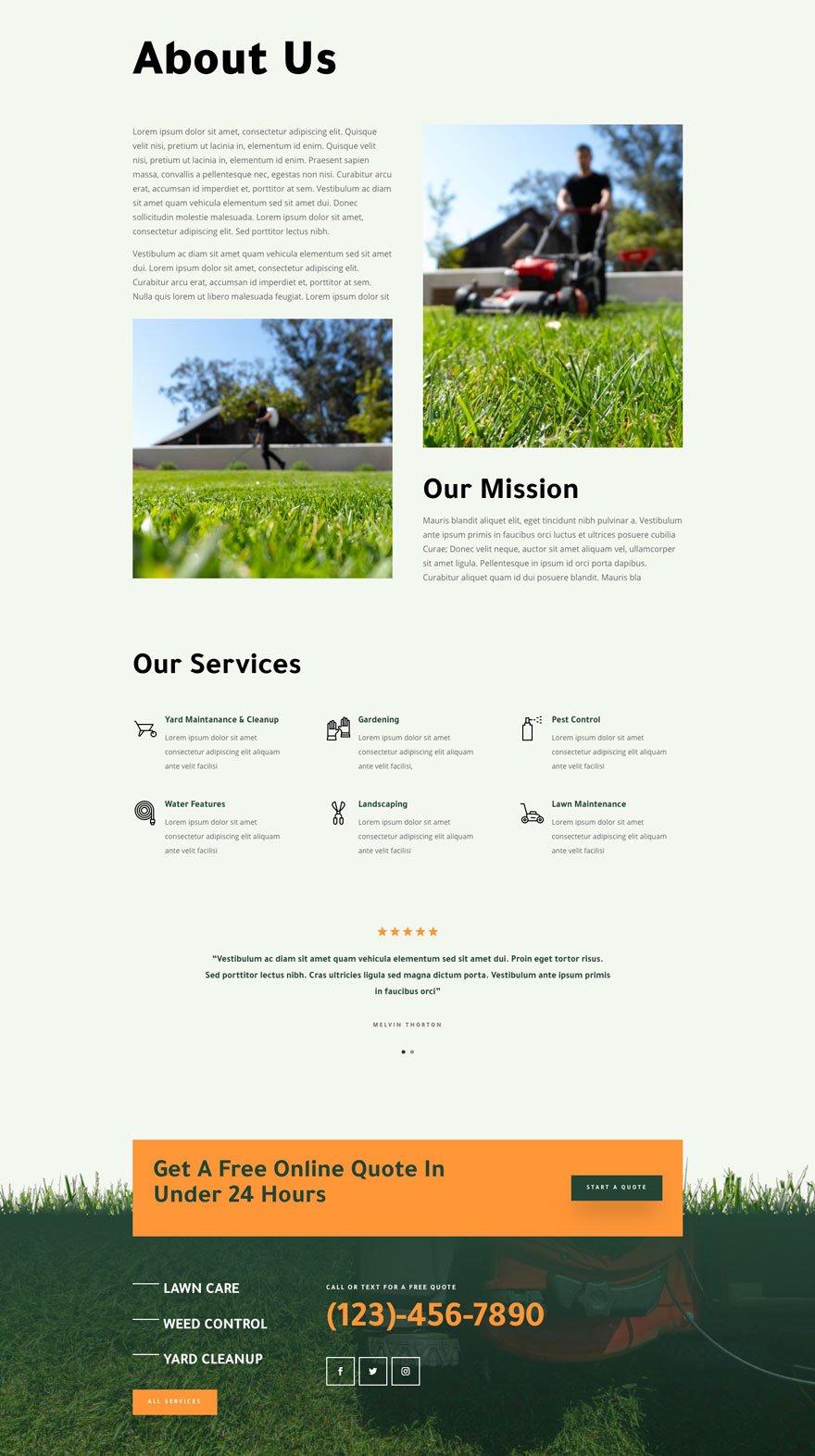divi landscape maintenance layout pack