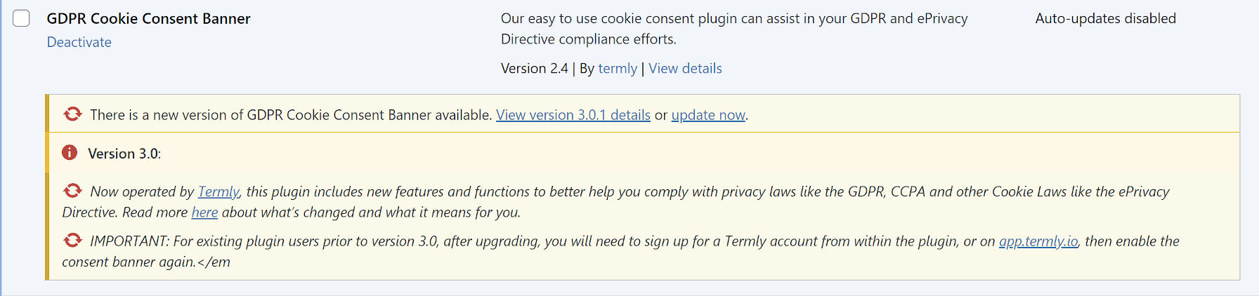 Admin notice from the GDPR Cookie Consent Plugin before upgrading to 3.0.