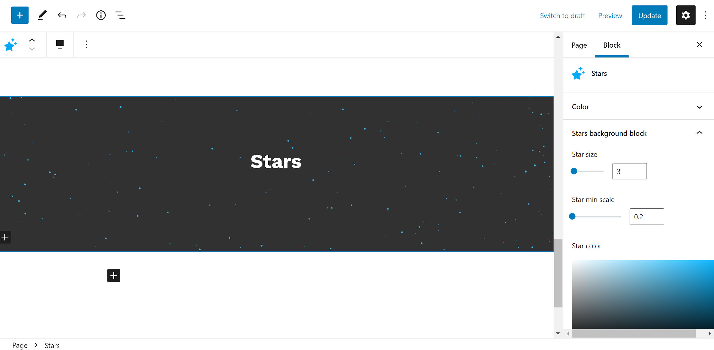 Container block with an animated stars background.